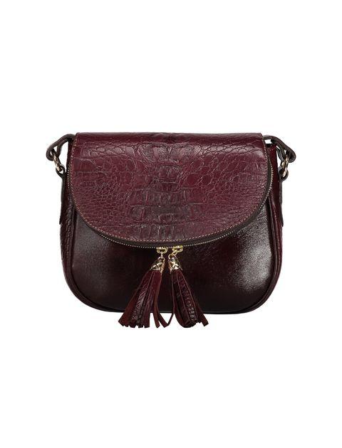 کیف دوشی چرم روزمره زنانه - زرشکي - 1