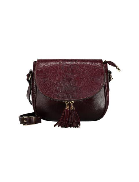 کیف دوشی چرم روزمره زنانه - زرشکي - 3