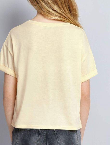 تی شرت یقه گرد دخترانه - زرد روشن - 2