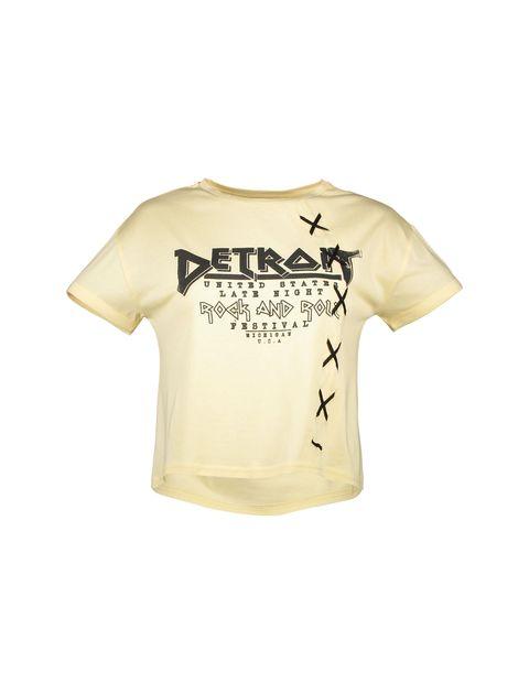 تی شرت یقه گرد دخترانه - زرد روشن - 3