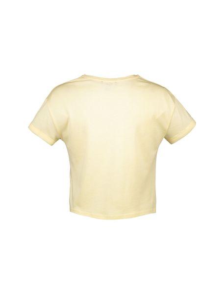 تی شرت یقه گرد دخترانه - زرد روشن - 4