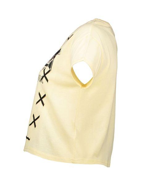 تی شرت یقه گرد دخترانه - زرد روشن - 5