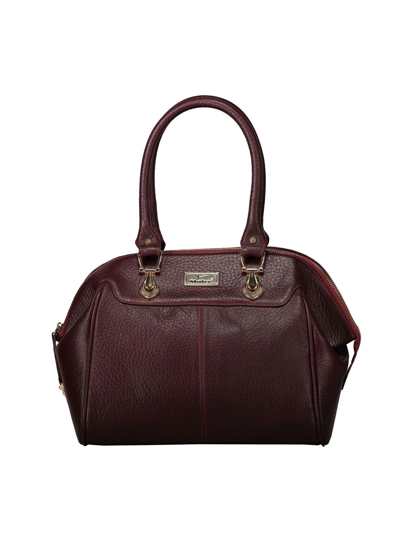 کیف دستی چرم روزمره زنانه - شیفر - زرشکي - 1