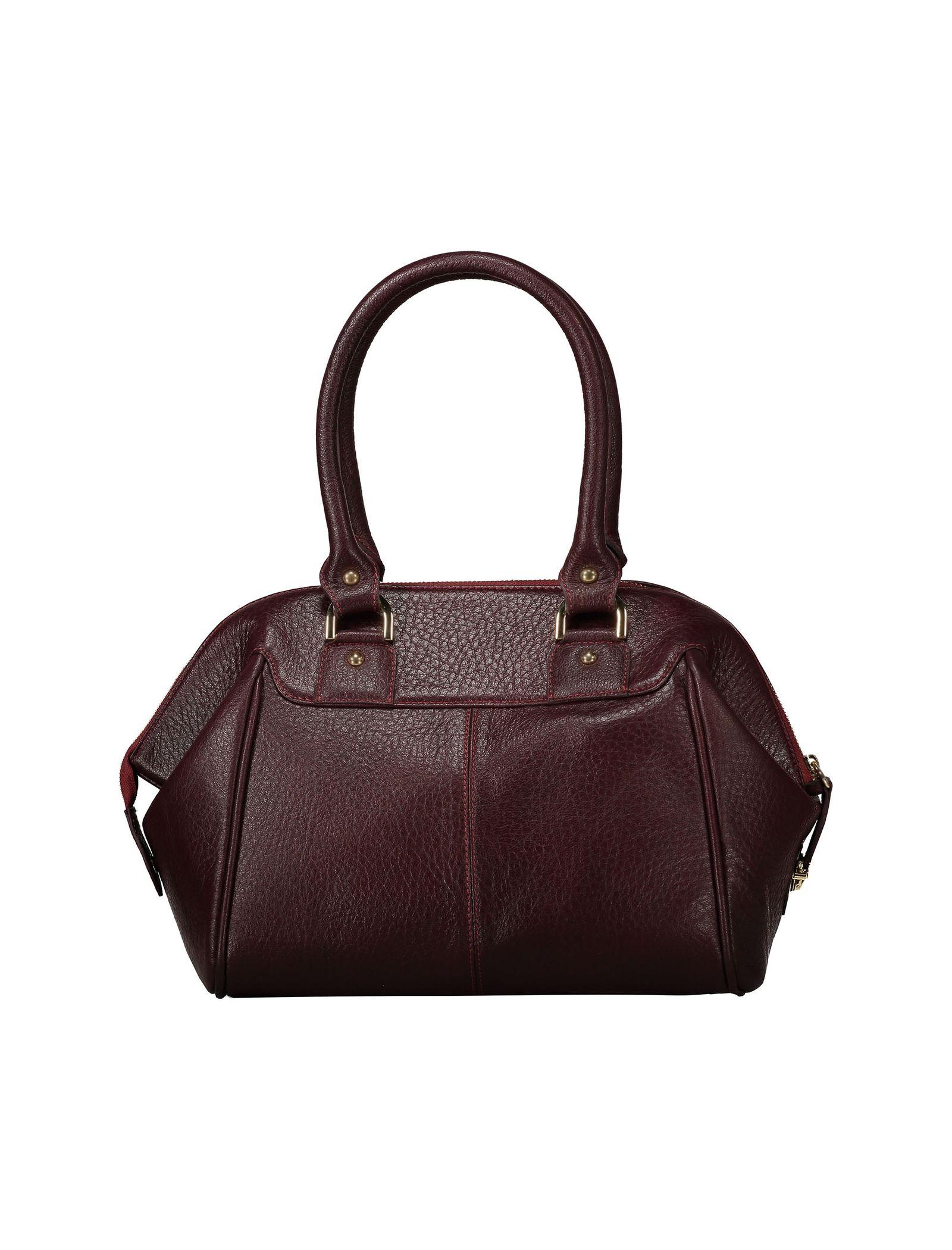 کیف دستی چرم روزمره زنانه - شیفر - زرشکي - 2