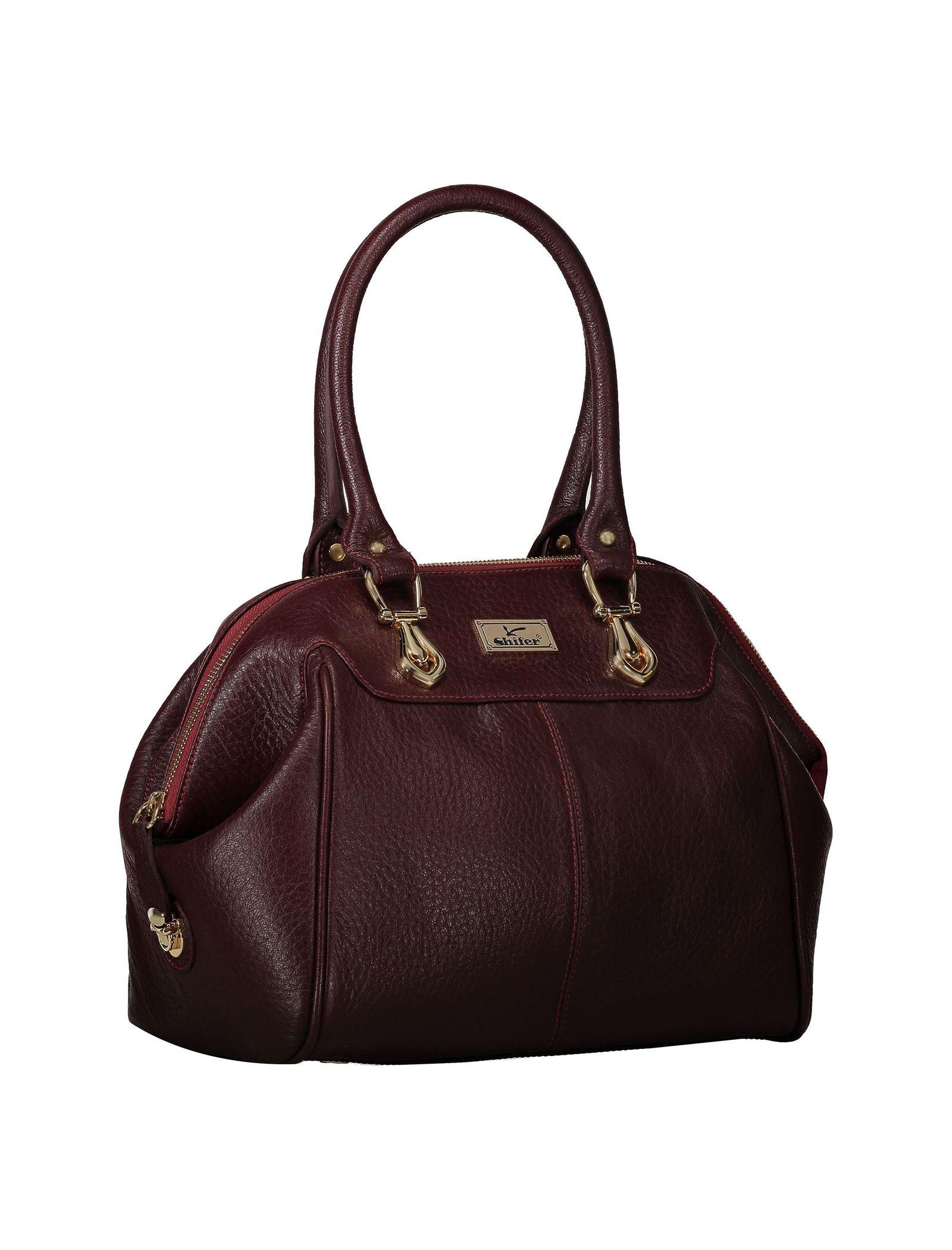 کیف دستی چرم روزمره زنانه - شیفر - زرشکي - 3