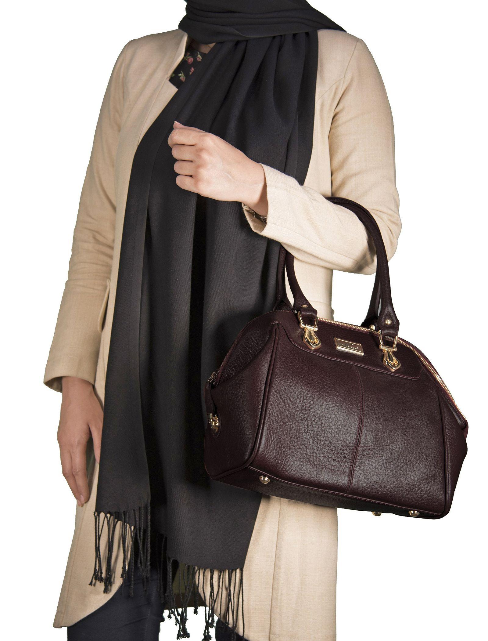 کیف دستی چرم روزمره زنانه - شیفر - زرشکي - 6