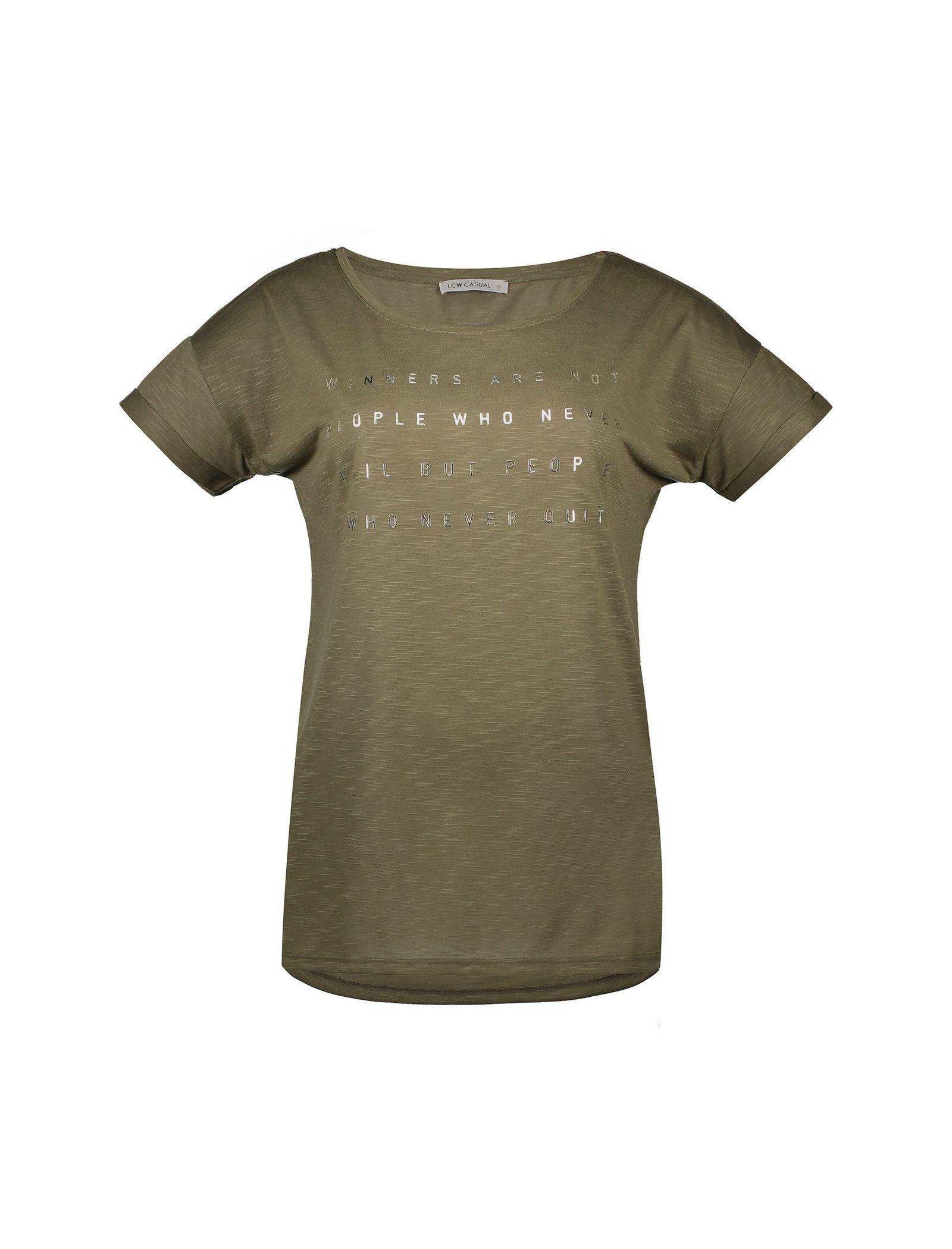 تی شرت یقه گرد زنانه - ال سی وایکیکی - زيتوني - 1