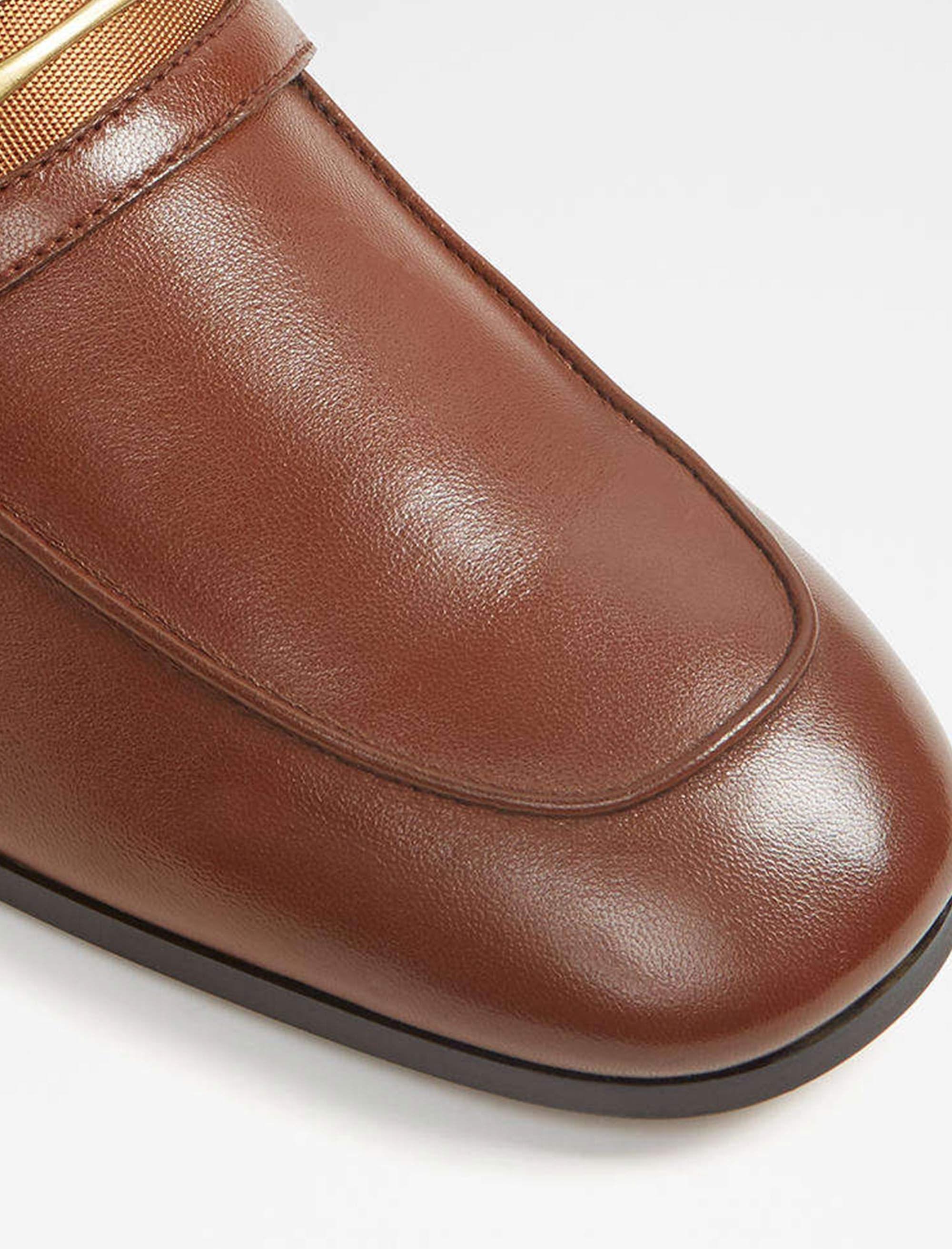 کفش اداری چرم مردانه - قهوه اي - 4