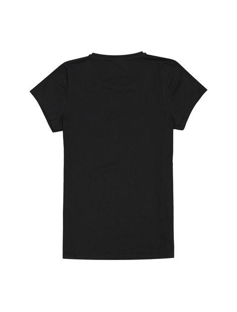 تی شرت نخی یقه گرد دخترانه - مشکي - 2