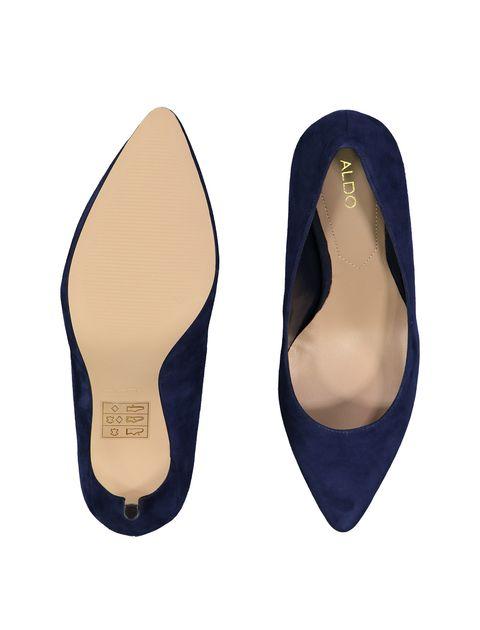 کفش پاشنه بلند چرم زنانه - سرمه اي - 2