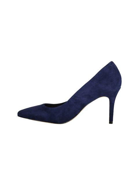 کفش پاشنه بلند چرم زنانه - سرمه اي - 3