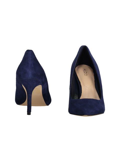 کفش پاشنه بلند چرم زنانه - سرمه اي - 4