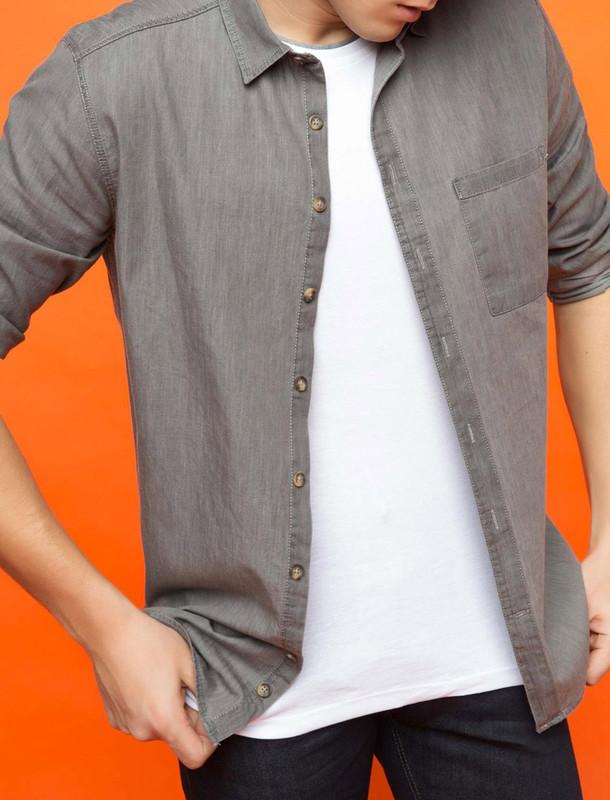 پیراهن نخی آستین بلند مردانه - دفکتو