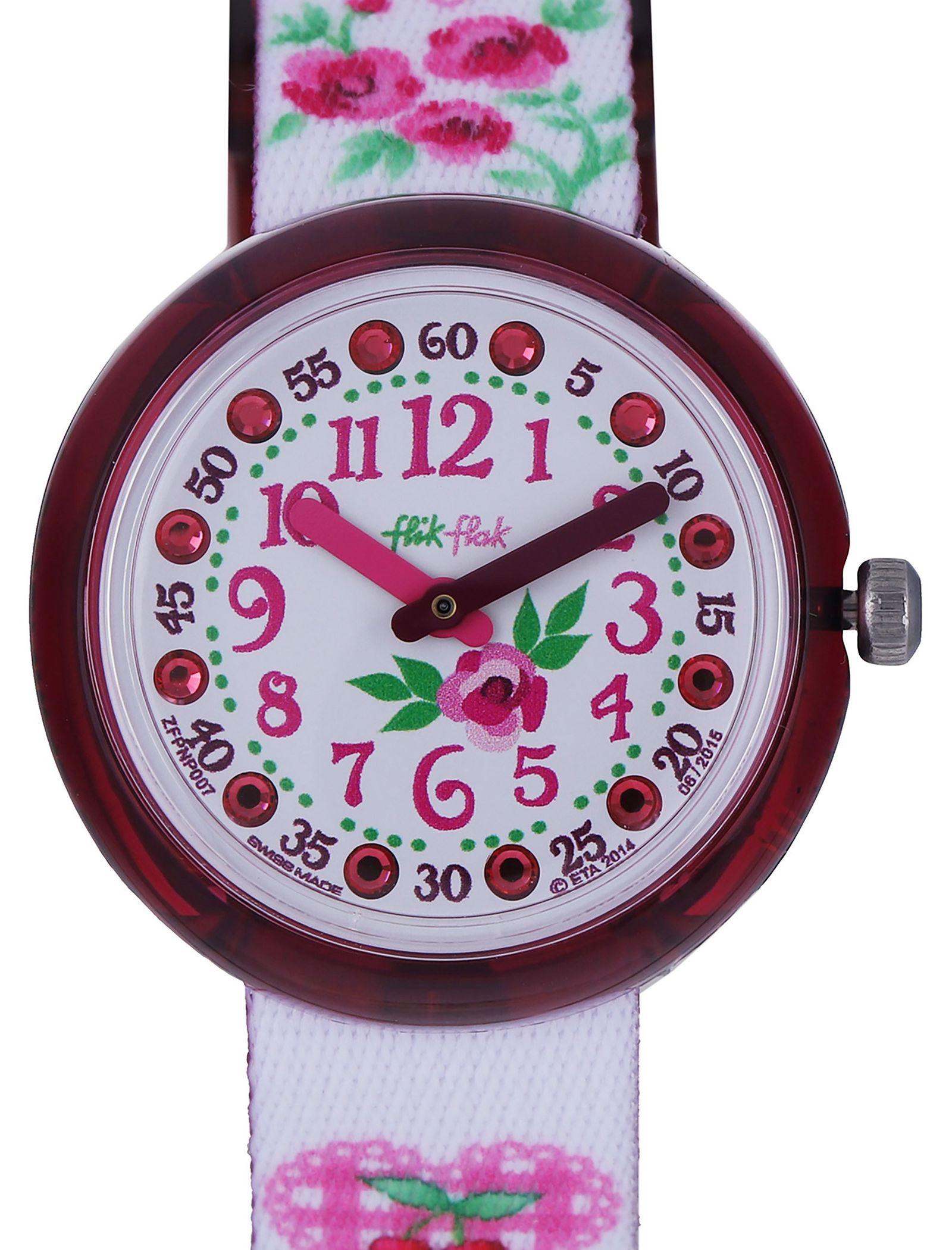 ساعت مچی عقربه ای بچگانه - فلیک فلاک - سفيد و صورتي - 2