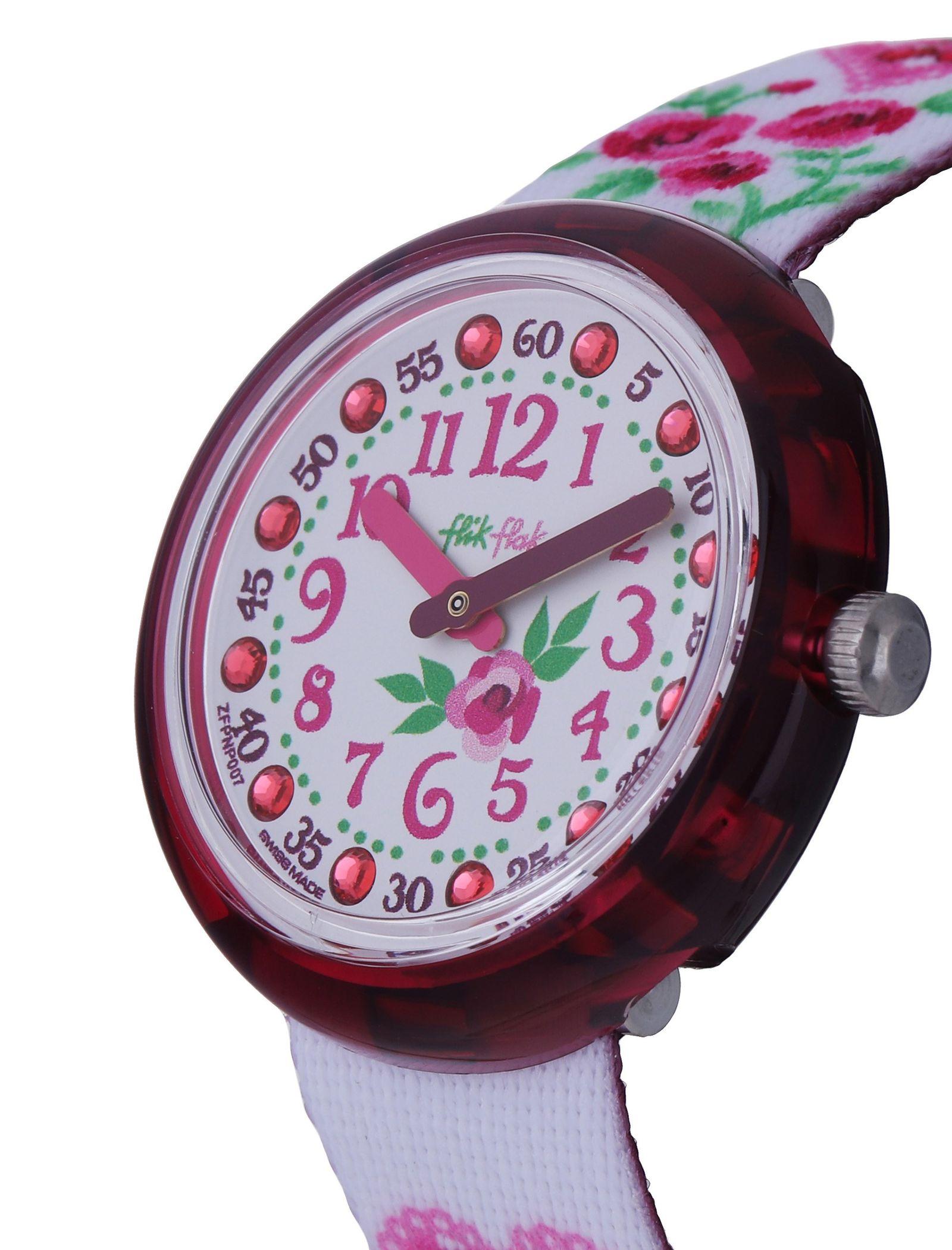 ساعت مچی عقربه ای بچگانه - فلیک فلاک - سفيد و صورتي - 4