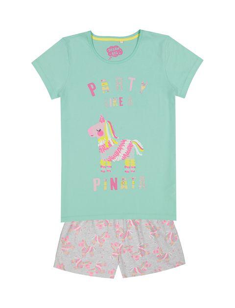 تی شرت و شلوارک راحتی نخی دخترانه - بلوزو - سبز آبي و طوسي - 1