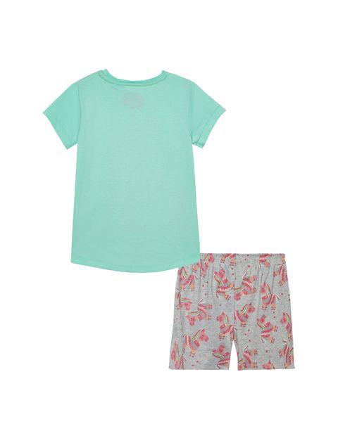 تی شرت و شلوارک راحتی نخی دخترانه - بلوزو - سبز آبي و طوسي - 7