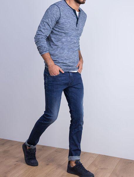 شلوار جین جذب مردانه - آبي تيره - 5
