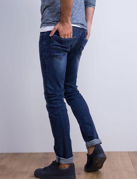 شلوار جین جذب مردانه - آبي تيره - 6