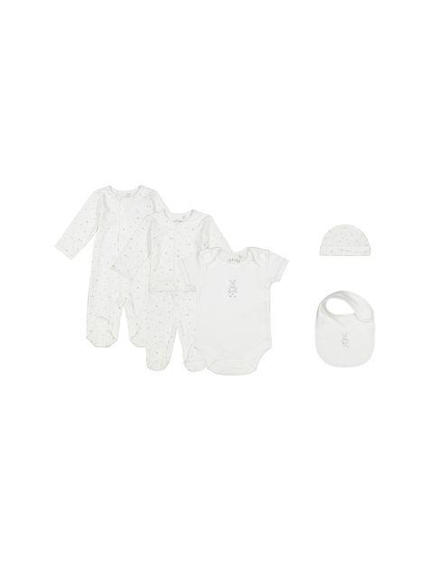 ست 6 تکه نخی نوزادی - سفيد - 1