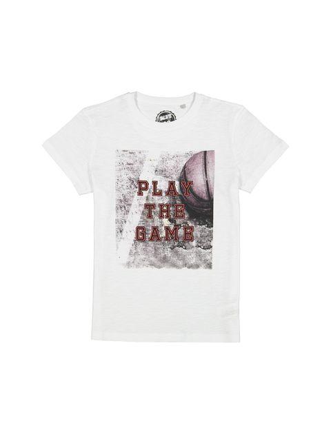 تی شرت نخی آستین کوتاه پسرانه - بلوزو - سفيد - 1
