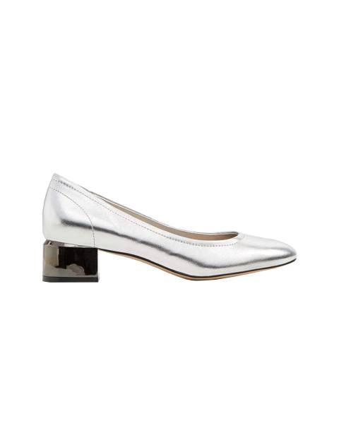 کفش پاشنه بلند چرم زنانه - نقره اي - 1