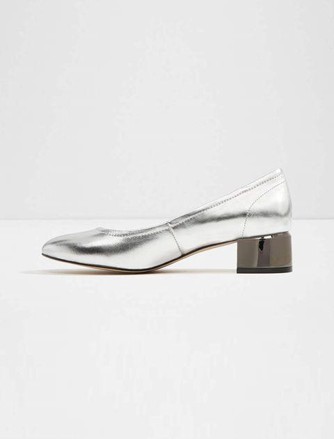کفش پاشنه بلند چرم زنانه - نقره اي - 2