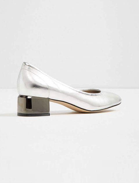 کفش پاشنه بلند چرم زنانه - نقره اي - 3