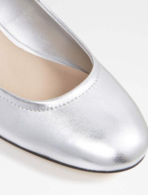 کفش پاشنه بلند چرم زنانه - نقره اي - 4
