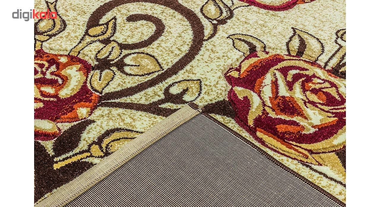 فرش ماشینی سهند کد F058.57 طرح فانتزی زمینه گردوئی