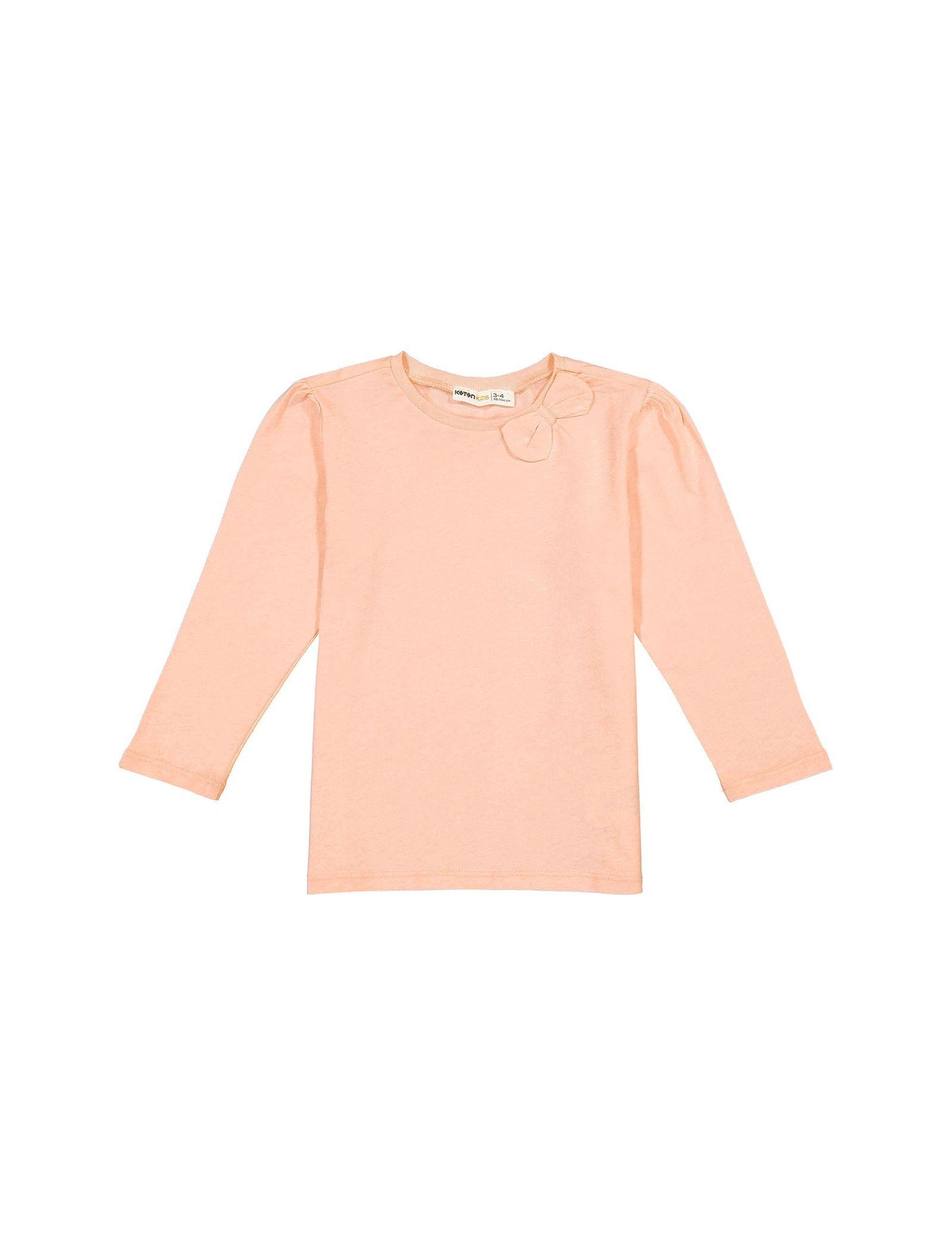 تی شرت نخی آستین بلند دخترانه - کوتون - صورتي - 1
