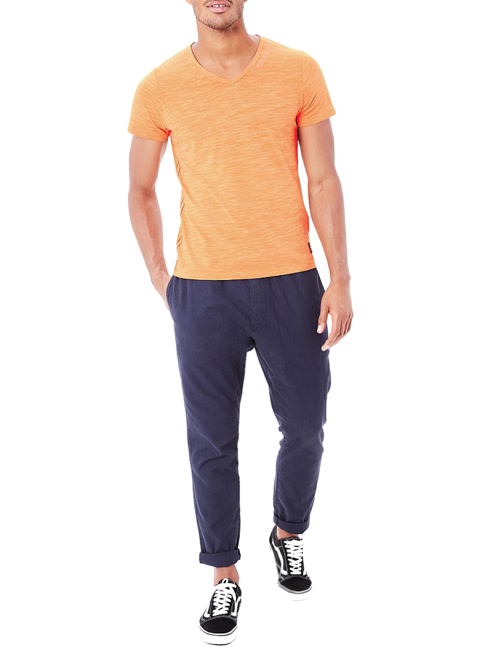 تی شرت نخی یقه هفت مردانه - اس.اولیور - نارنجي روشن - 1