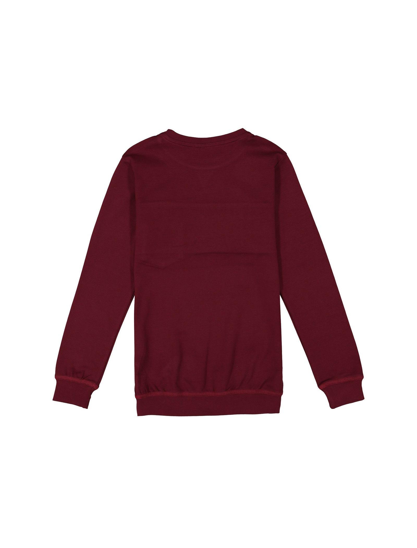 تی شرت نخی آستین بلند دخترانه - پیانو - زرشکي - 2