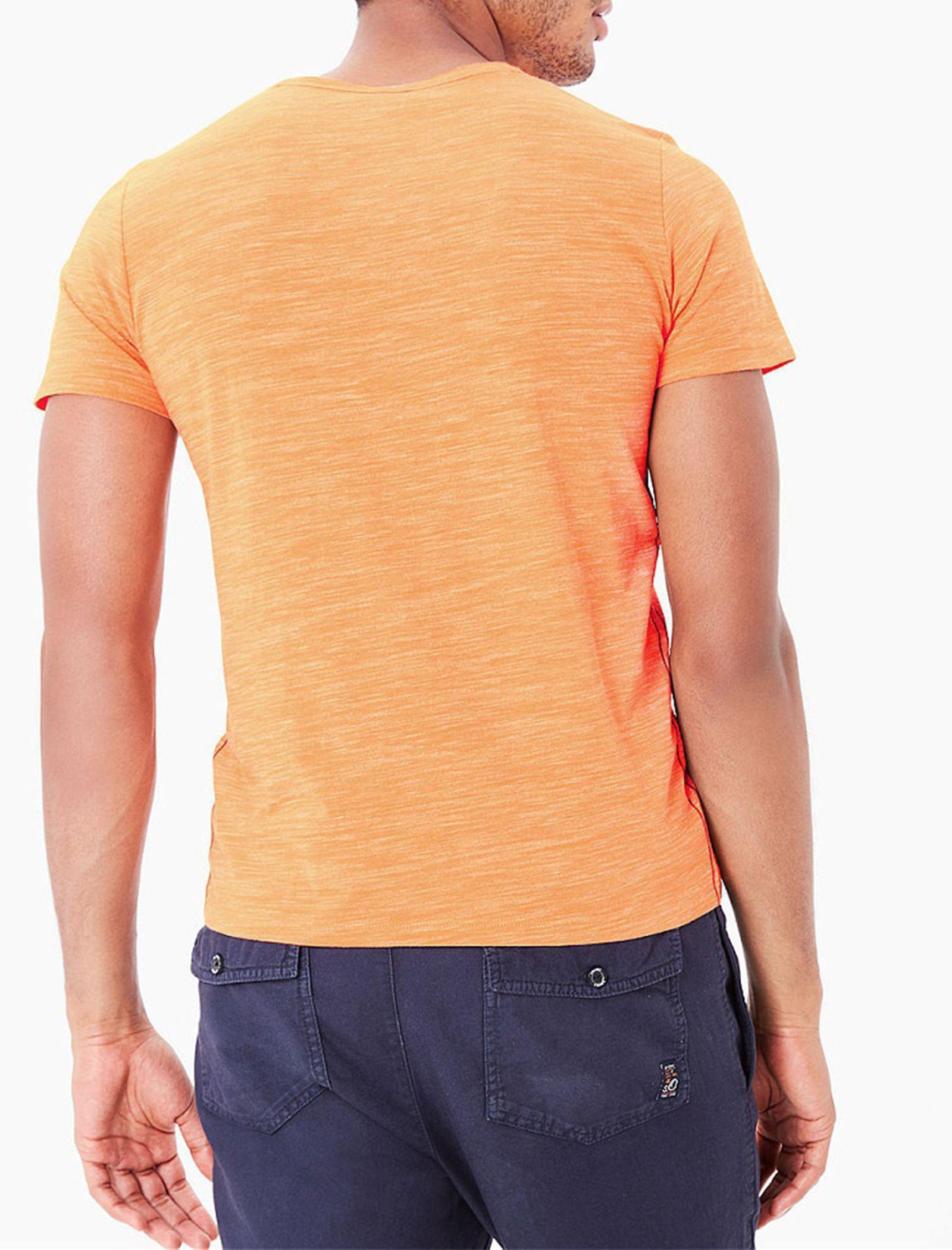 تی شرت نخی یقه هفت مردانه - اس.اولیور - نارنجي روشن - 2