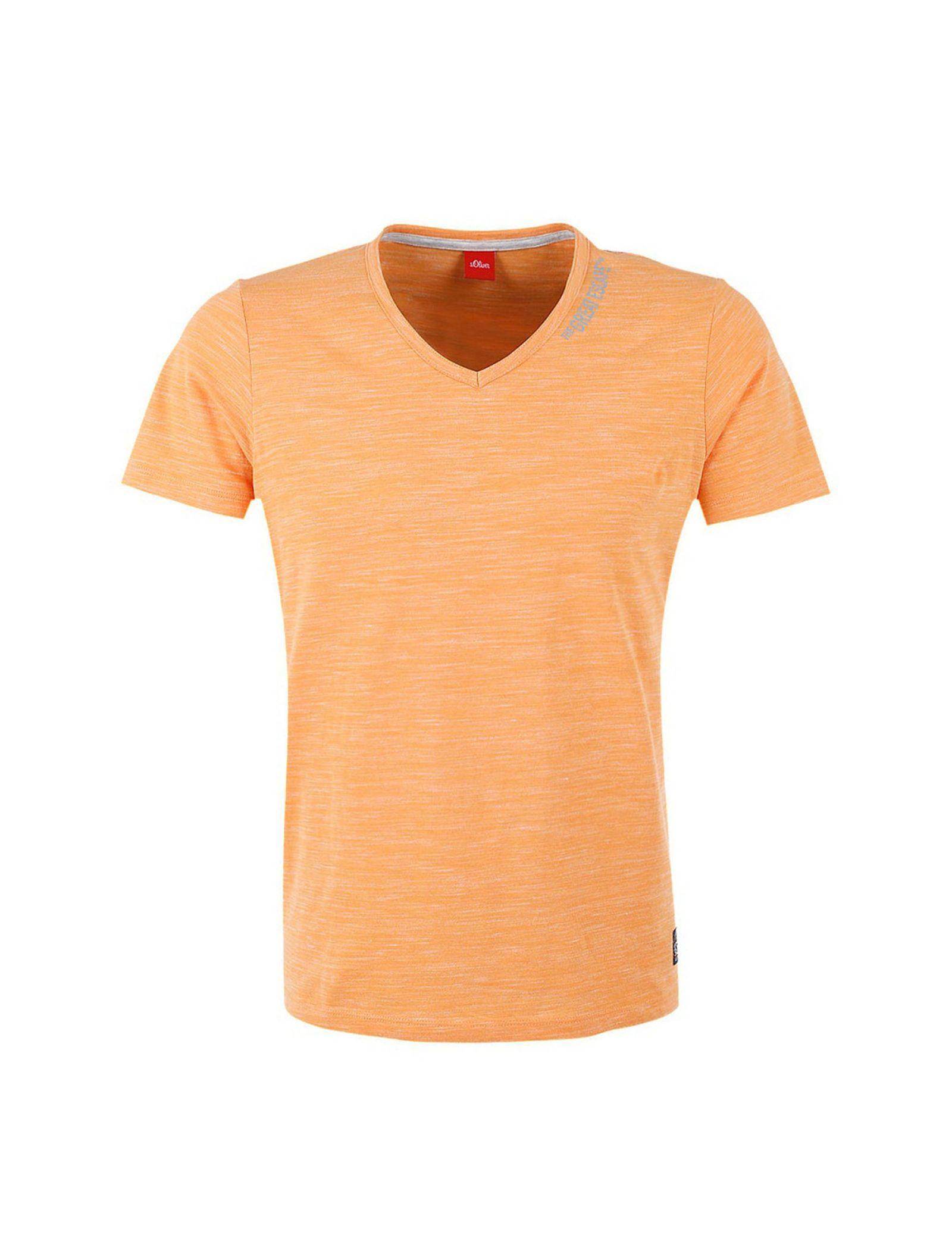 تی شرت نخی یقه هفت مردانه - اس.اولیور - نارنجي روشن - 3