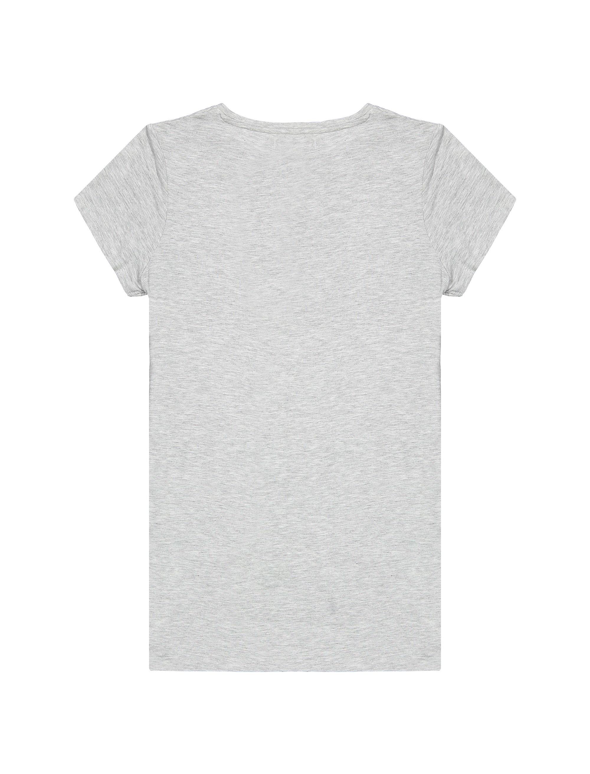 تی شرت ویسکوز یقه گرد دخترانه - بلوزو - طوسي   - 2