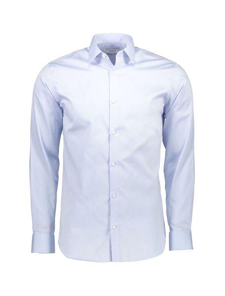 پیراهن نخی یقه برگردان مردانه - آبي روشن - 1