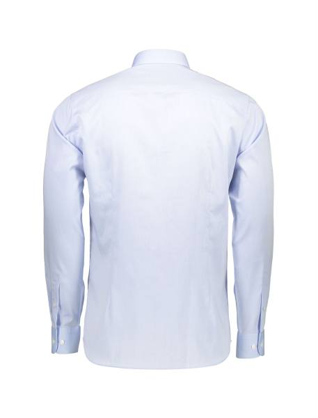 پیراهن نخی یقه برگردان مردانه - آبي روشن - 2