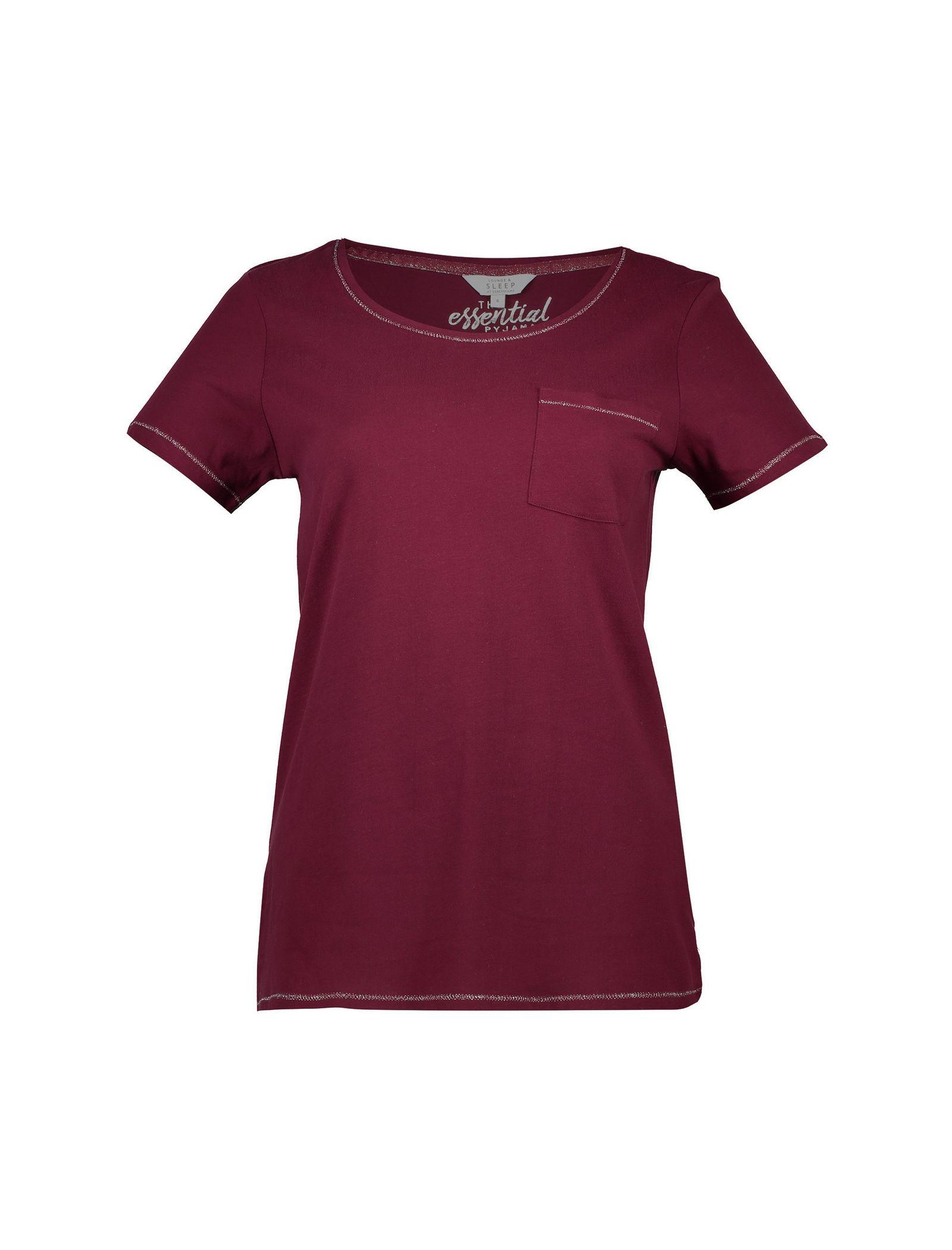 تی شرت و شلوار راحتی نخی زنانه - لانژ اند اسلیپ - قرمز - 2