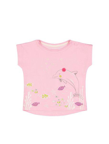 تی شرت نخی یقه گرد نوزادی دخترانه - صورتي روشن - 1
