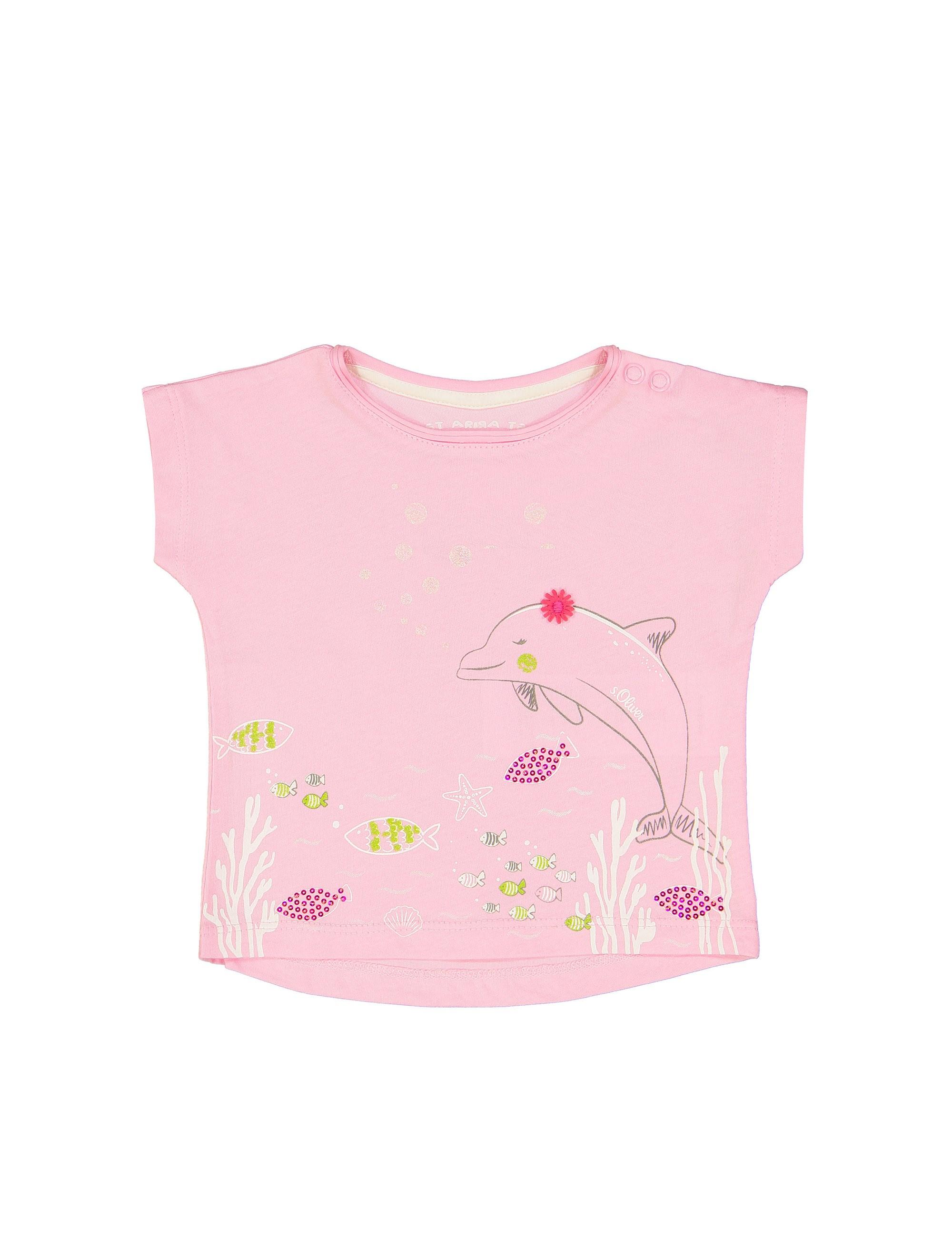 تی شرت نخی یقه گرد نوزادی دخترانه - اس.اولیور - صورتي روشن - 1