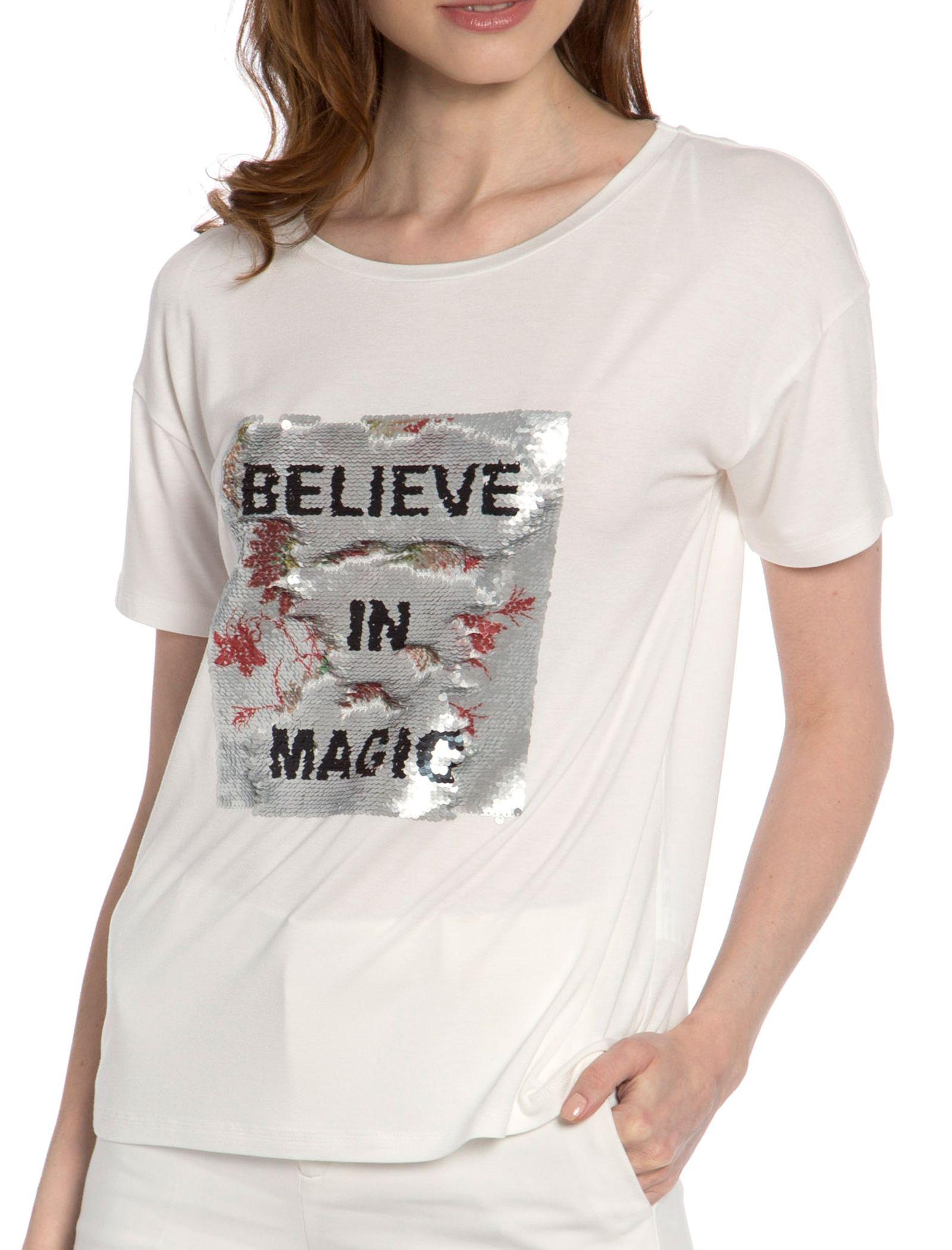 تی شرت ویسکوز یقه گرد زنانه - ال سی وایکیکی - سفيد - 1
