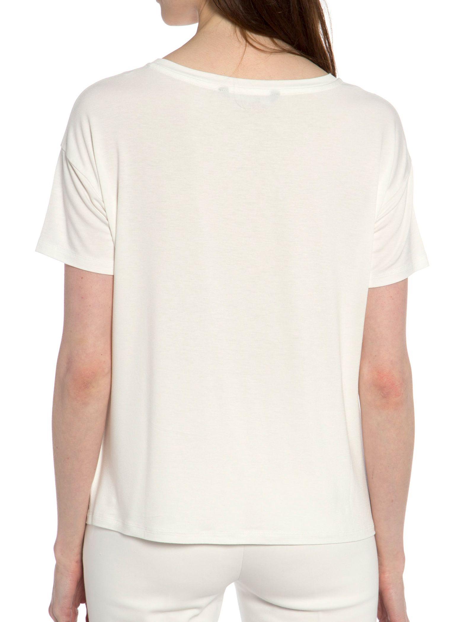 تی شرت ویسکوز یقه گرد زنانه - ال سی وایکیکی - سفيد - 2