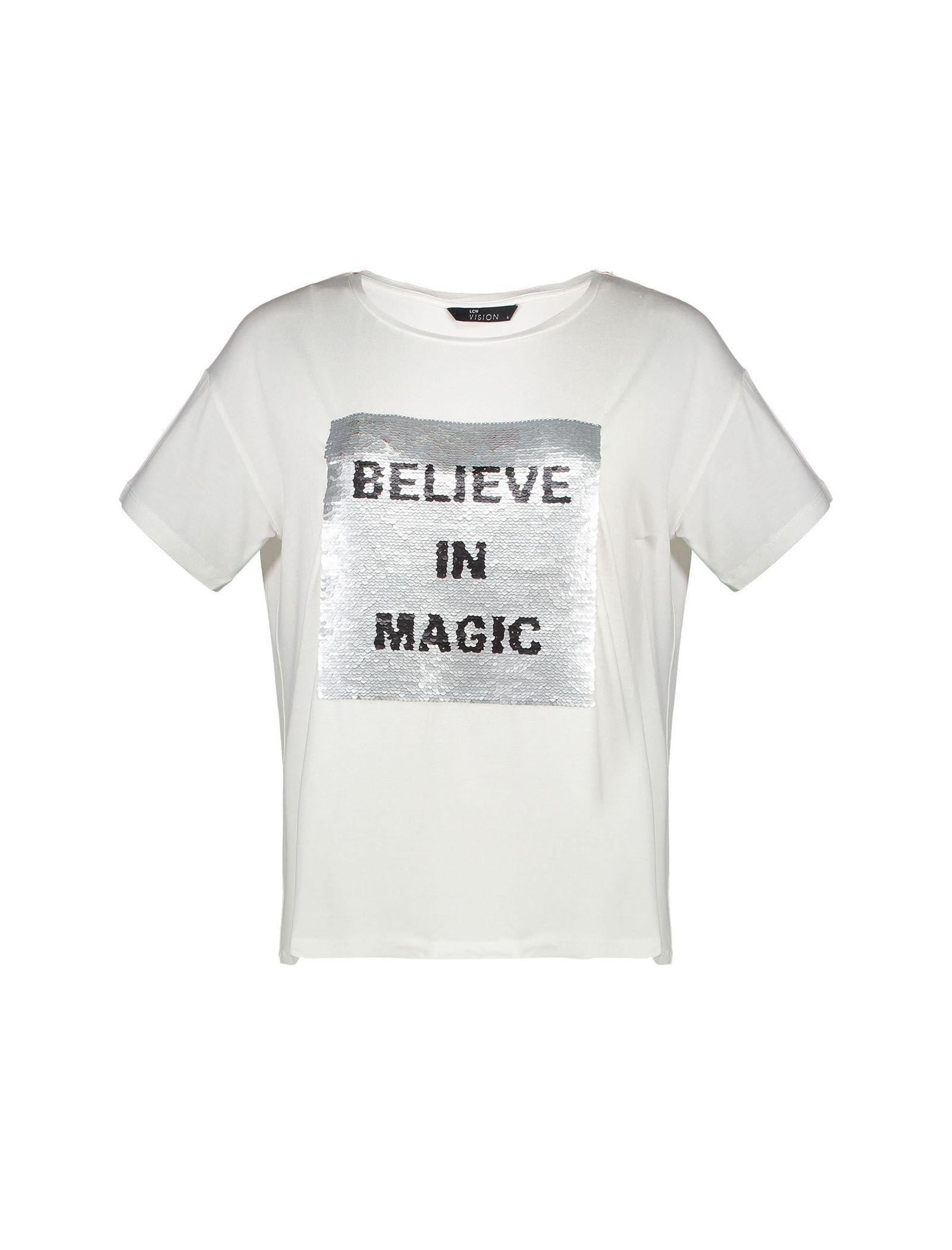 تی شرت ویسکوز یقه گرد زنانه - ال سی وایکیکی - سفيد - 3