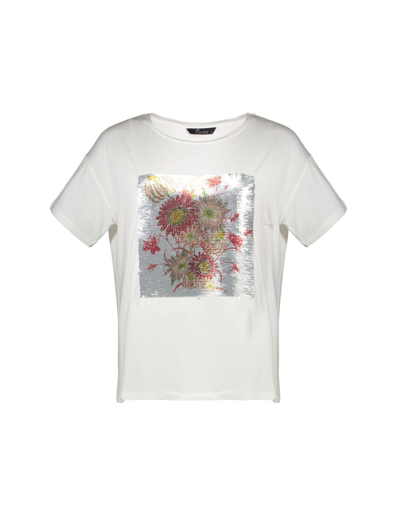تی شرت ویسکوز یقه گرد زنانه - ال سی وایکیکی - سفيد - 4