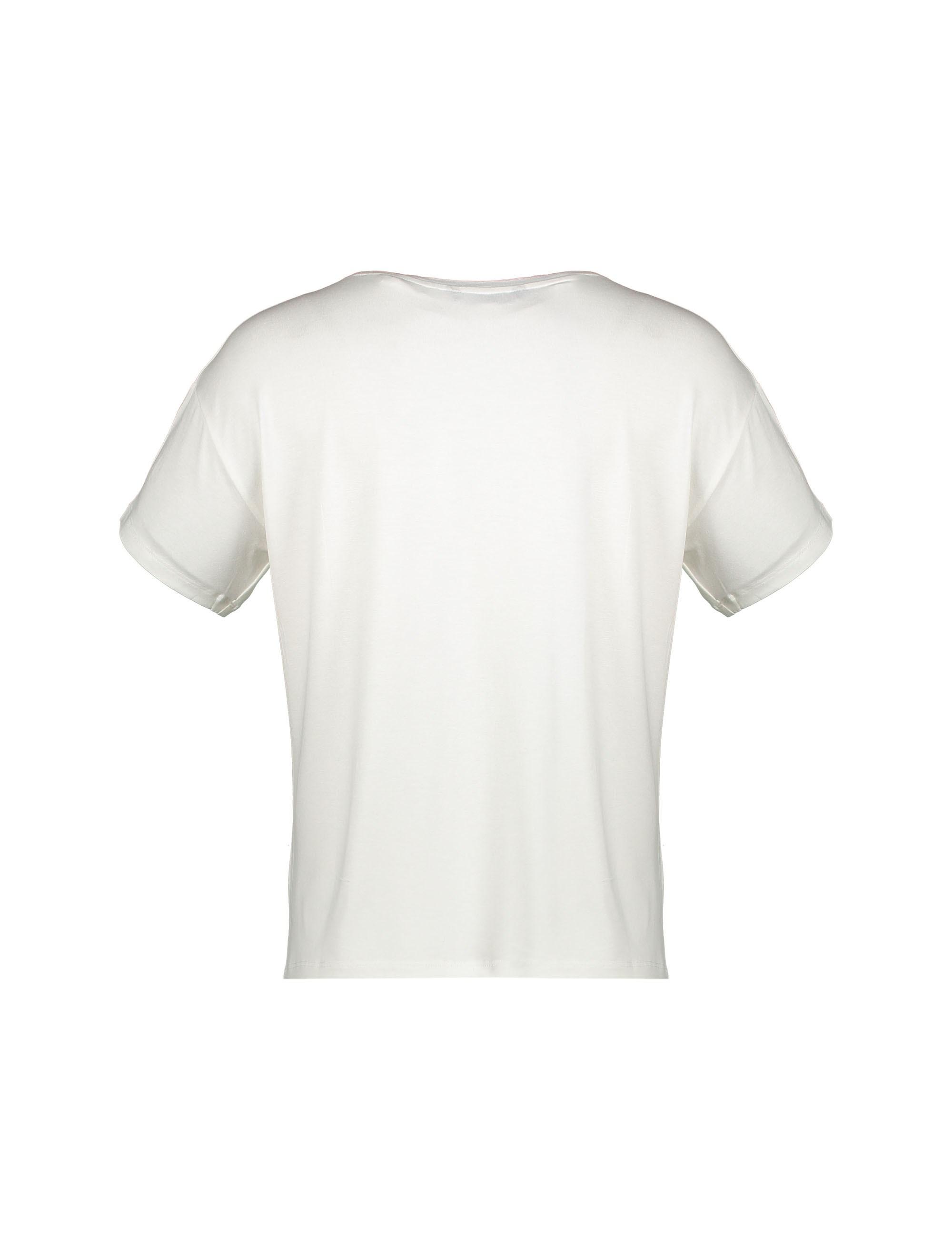 تی شرت ویسکوز یقه گرد زنانه - ال سی وایکیکی - سفيد - 5