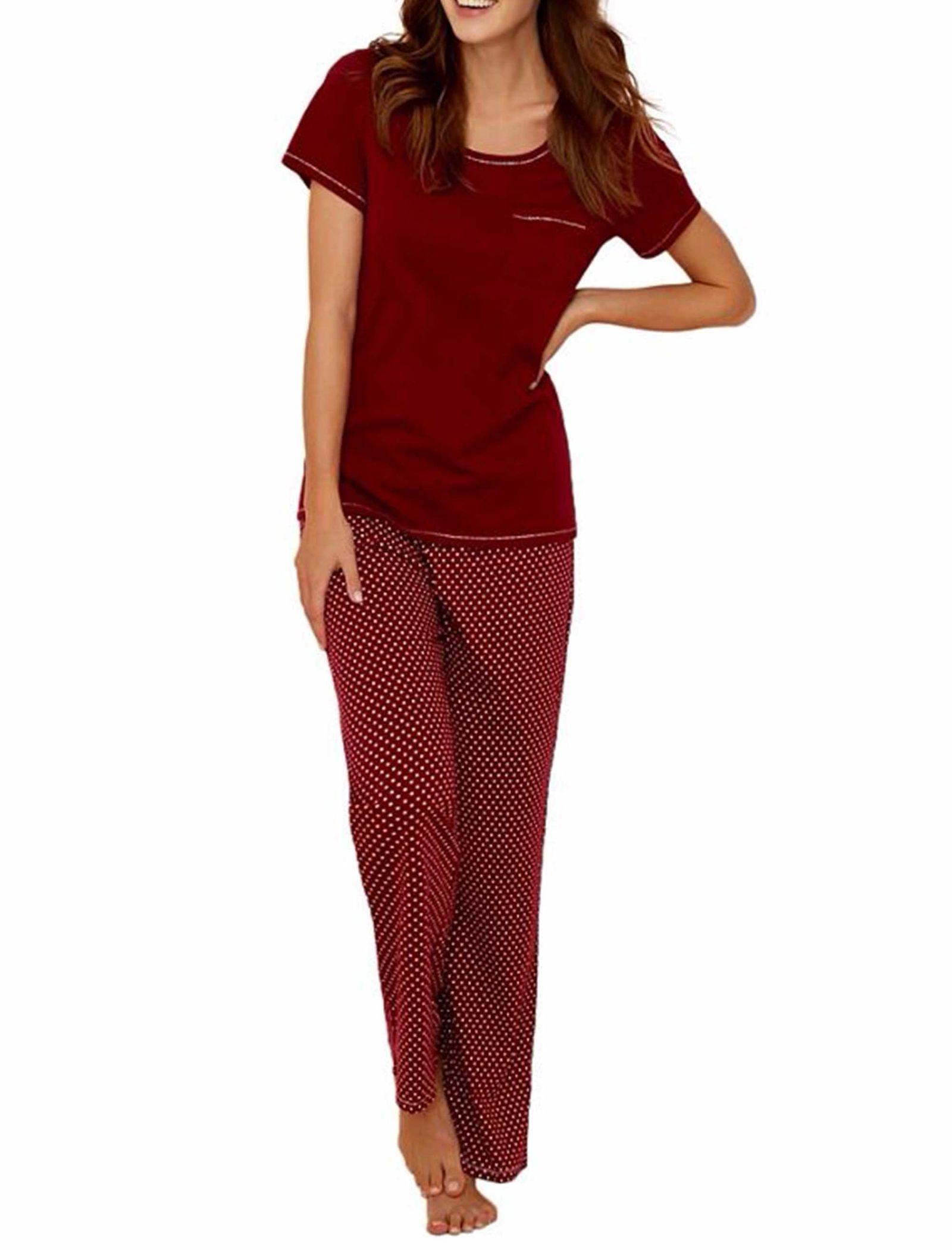 تی شرت و شلوار راحتی نخی زنانه - لانژ اند اسلیپ - قرمز - 10