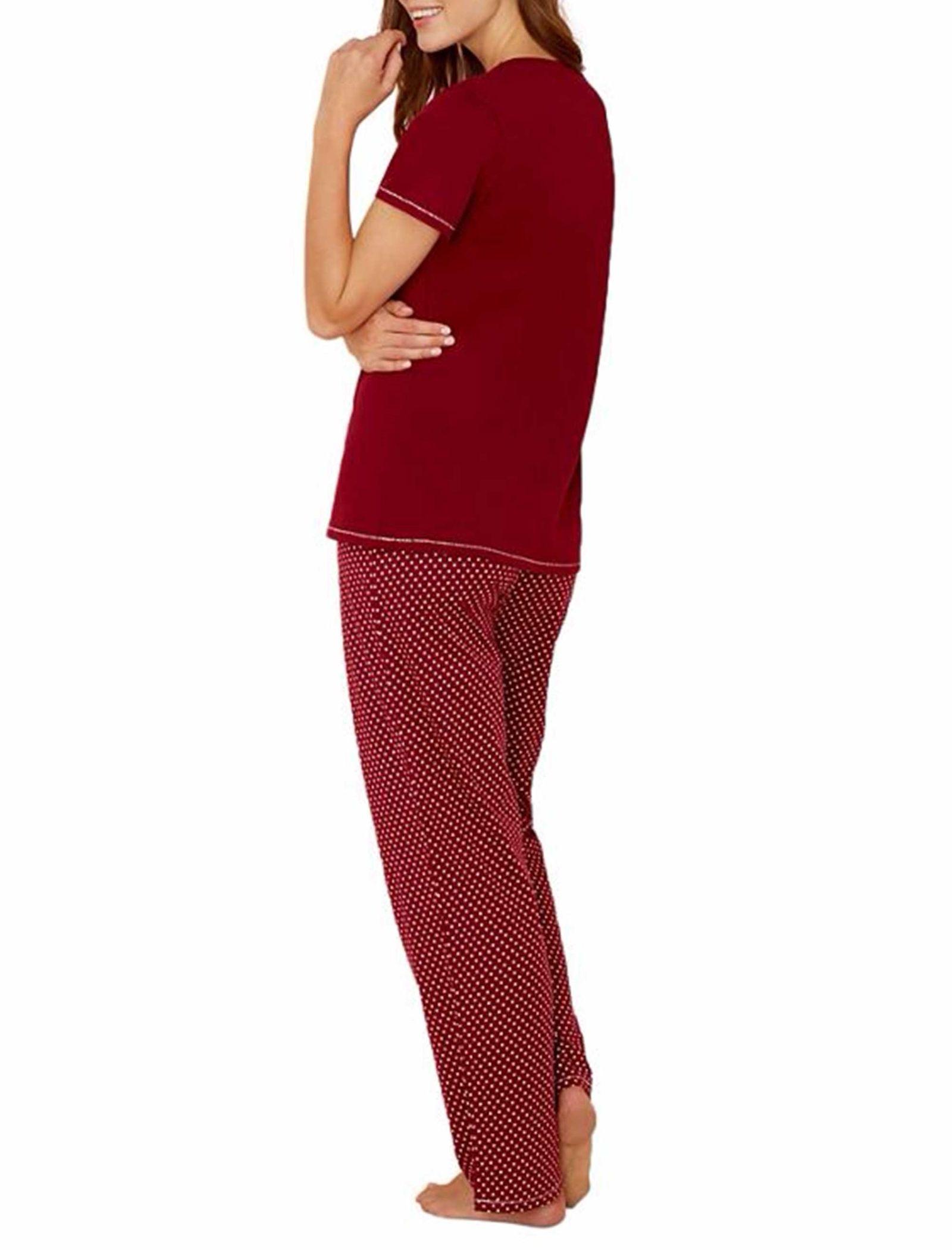 تی شرت و شلوار راحتی نخی زنانه - لانژ اند اسلیپ - قرمز - 11