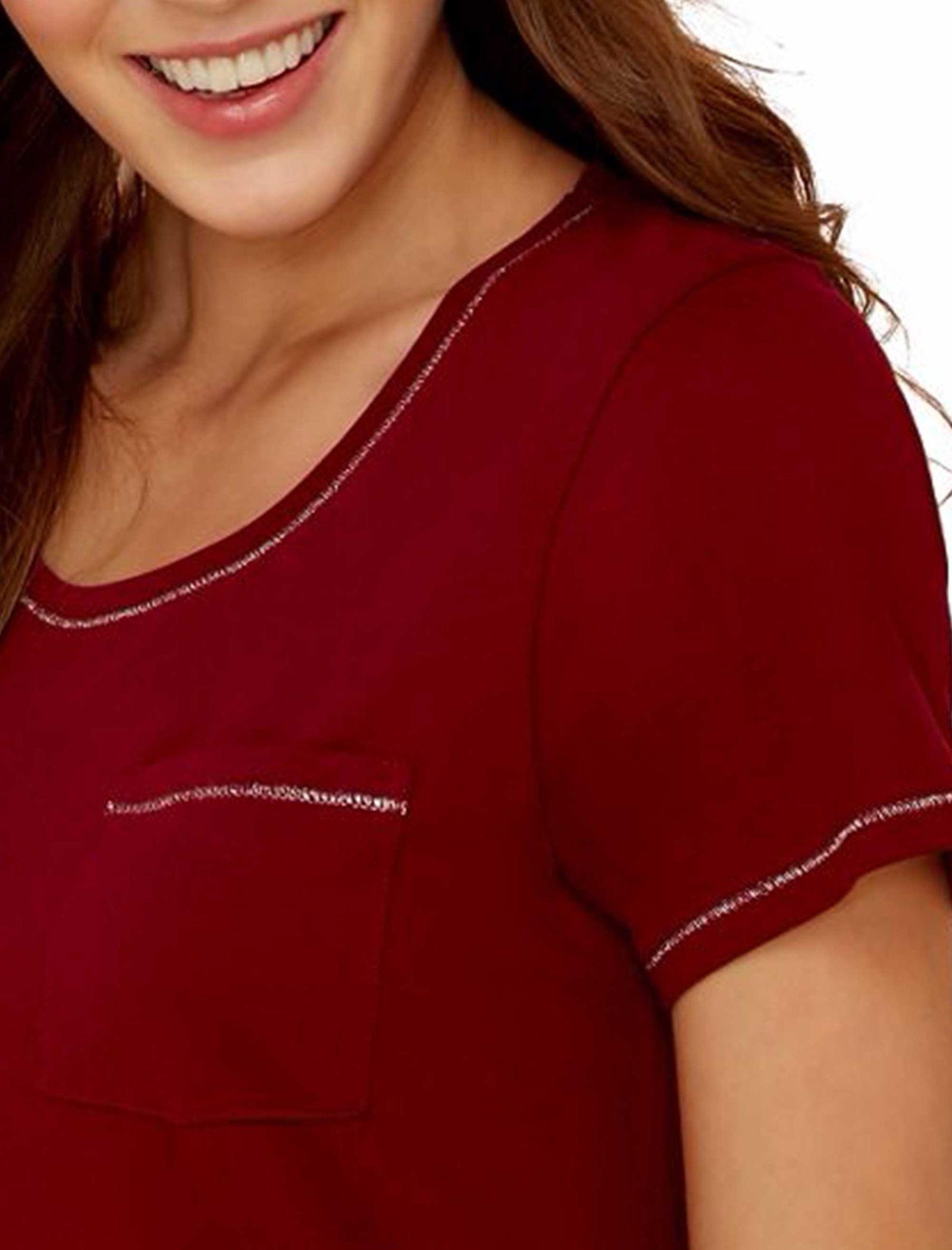 تی شرت و شلوار راحتی نخی زنانه - لانژ اند اسلیپ - قرمز - 12