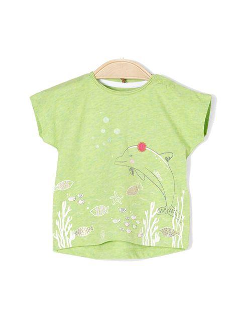 تی شرت نخی یقه گرد نوزادی دخترانه - سبز روشن - 1